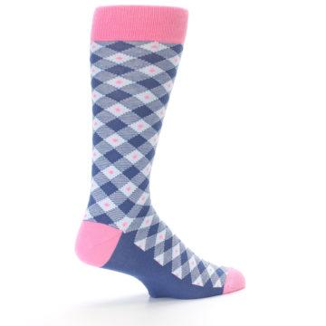 Image of Blue Pink Diamond Plaid Men's Dress Socks (side-1-back-22)