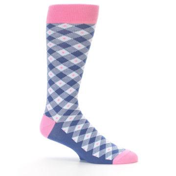 Image of Blue Pink Diamond Plaid Men's Dress Socks (side-1-25)