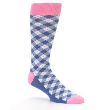 Image of Blue Pink Diamond Plaid Men's Dress Socks (side-1-26)