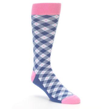 Image of Blue Pink Diamond Plaid Men's Dress Socks (side-1-27)