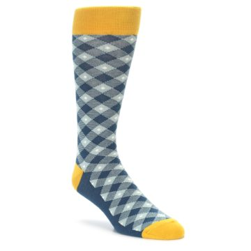 Dark Teal Plaid Socks for Men Statement Sockwear