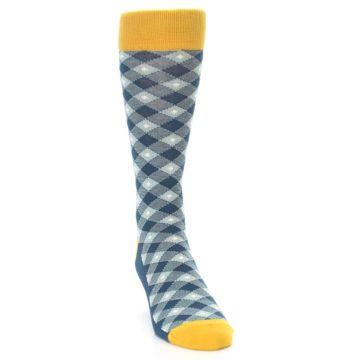Image of Dark Teal Mustard Diamond Plaid Men's Dress Socks (side-1-front-03)