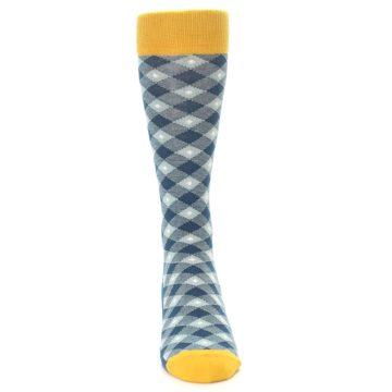 Image of Dark Teal Mustard Diamond Plaid Men's Dress Socks (front-04)