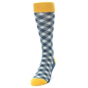 Image of Dark Teal Mustard Diamond Plaid Men's Dress Socks (side-2-front-06)