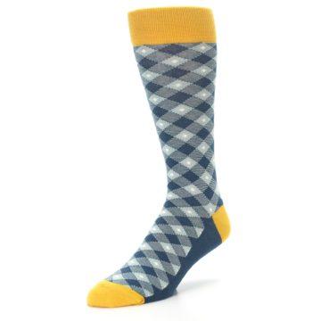 Image of Dark Teal Mustard Diamond Plaid Men's Dress Socks (side-2-front-08)
