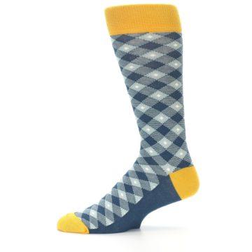 Image of Dark Teal Mustard Diamond Plaid Men's Dress Socks (side-2-11)