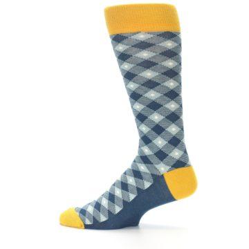 Image of Dark Teal Mustard Diamond Plaid Men's Dress Socks (side-2-12)