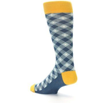 Image of Dark Teal Mustard Diamond Plaid Men's Dress Socks (side-2-back-14)