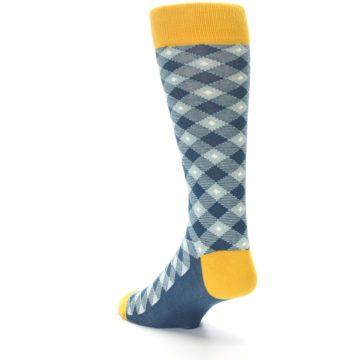 Image of Dark Teal Mustard Diamond Plaid Men's Dress Socks (side-2-back-15)