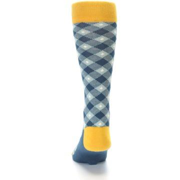Image of Dark Teal Mustard Diamond Plaid Men's Dress Socks (back-17)