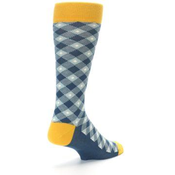 Image of Dark Teal Mustard Diamond Plaid Men's Dress Socks (side-1-back-21)