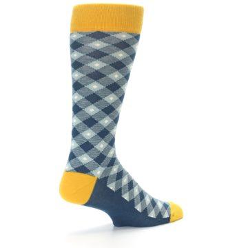 Image of Dark Teal Mustard Diamond Plaid Men's Dress Socks (side-1-back-22)