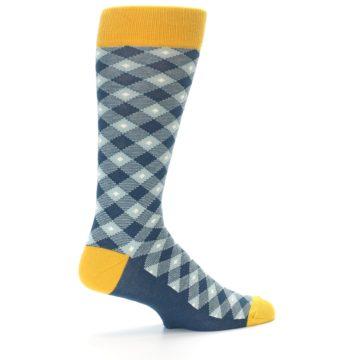 Image of Dark Teal Mustard Diamond Plaid Men's Dress Socks (side-1-23)