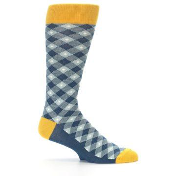 Image of Dark Teal Mustard Diamond Plaid Men's Dress Socks (side-1-25)