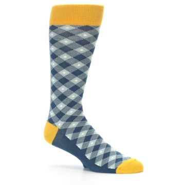 Image of Dark Teal Mustard Diamond Plaid Men's Dress Socks (side-1-26)