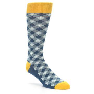 Image of Dark Teal Mustard Diamond Plaid Men's Dress Socks (side-1-27)