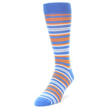 Image of Blue Orange Stripe Men's Dress Socks (side-2-front-07)