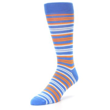 Image of Blue Orange Stripe Men's Dress Socks (side-2-front-08)