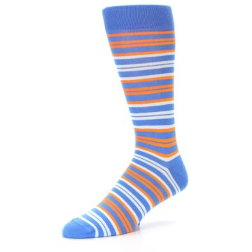 Image of Blue Orange Stripe Men's Dress Socks (side-2-09)
