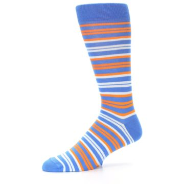 Image of Blue Orange Stripe Men's Dress Socks (side-2-10)