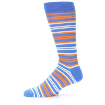 Image of Blue Orange Stripe Men's Dress Socks (side-2-11)