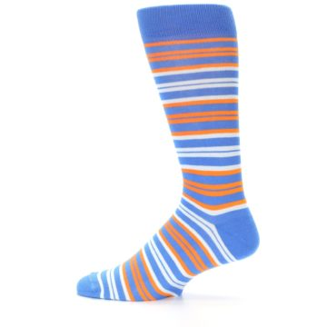 Image of Blue Orange Stripe Men's Dress Socks (side-2-12)
