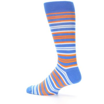 Image of Blue Orange Stripe Men's Dress Socks (side-2-13)