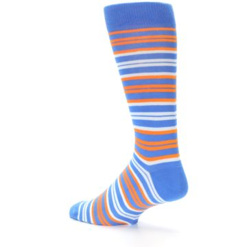 Image of Blue Orange Stripe Men's Dress Socks (side-2-back-14)