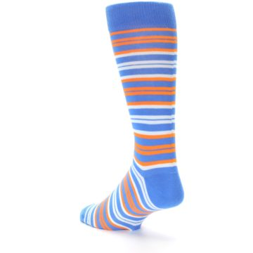 Image of Blue Orange Stripe Men's Dress Socks (side-2-back-15)