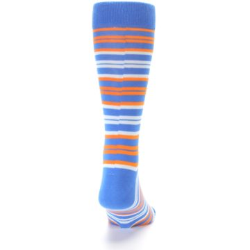 Image of Blue Orange Stripe Men's Dress Socks (back-19)