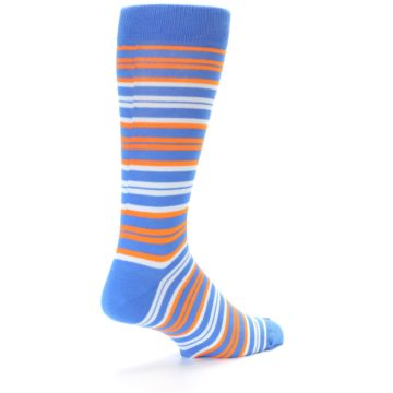 Image of Blue Orange Stripe Men's Dress Socks (side-1-back-22)