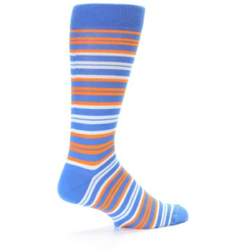 Image of Blue Orange Stripe Men's Dress Socks (side-1-23)