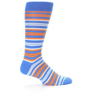 Image of Blue Orange Stripe Men's Dress Socks (side-1-24)