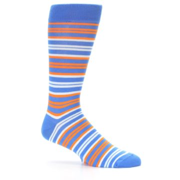 Image of Blue Orange Stripe Men's Dress Socks (side-1-25)