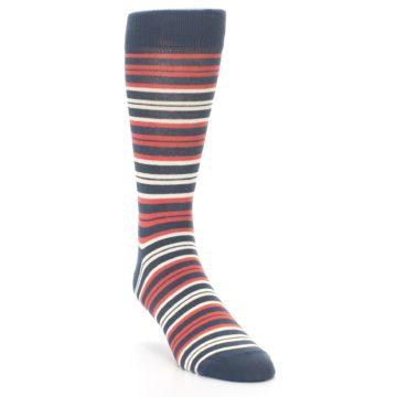 Image of Marsala Slate Stripe Men's Dress Socks (side-1-front-02)