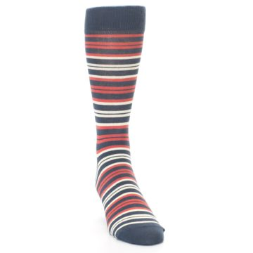 Image of Marsala Slate Stripe Men's Dress Socks (side-1-front-03)