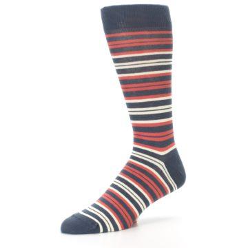 Image of Marsala Slate Stripe Men's Dress Socks (side-2-09)