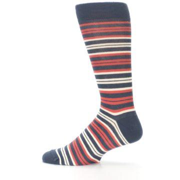 Image of Marsala Slate Stripe Men's Dress Socks (side-2-12)