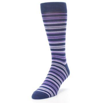 Image of Purple Stripe Men's Dress Socks (side-2-front-07)