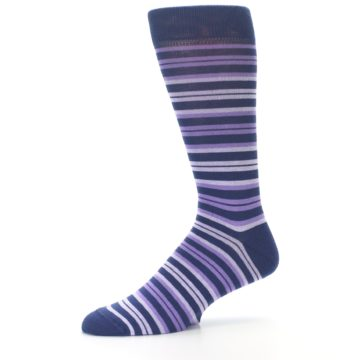 Image of Purple Stripe Men's Dress Socks (side-2-10)