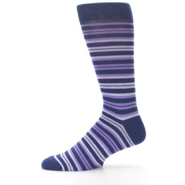 Image of Purple Stripe Men's Dress Socks (side-2-11)