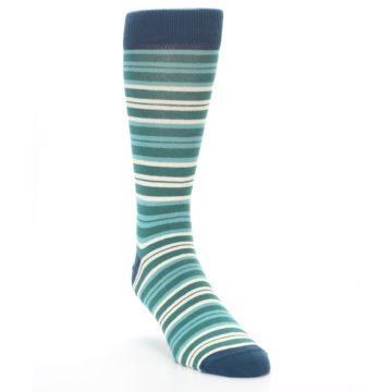 Image of Gem Green Stripe Men's Dress Socks (side-1-front-02)