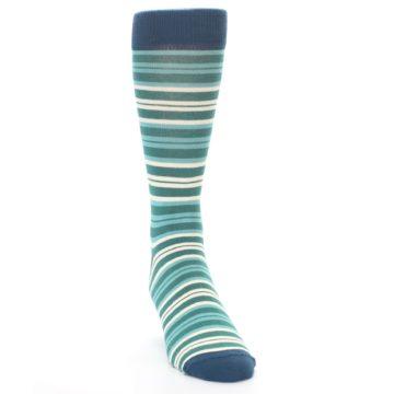 Image of Gem Green Stripe Men's Dress Socks (side-1-front-03)