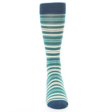 Image of Gem Green Stripe Men's Dress Socks (front-04)