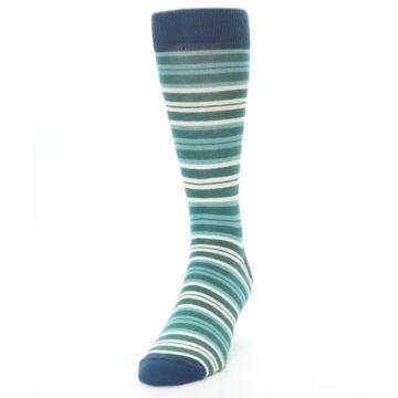 Image of Gem Green Stripe Men's Dress Socks (side-2-front-06)