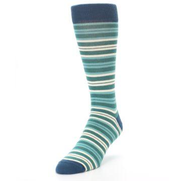 Image of Gem Green Stripe Men's Dress Socks (side-2-front-07)