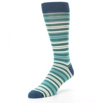Image of Gem Green Stripe Men's Dress Socks (side-2-front-08)