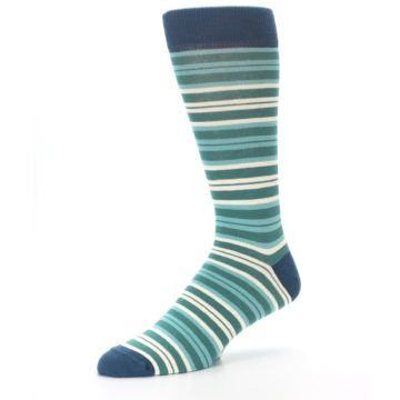 Image of Gem Green Stripe Men's Dress Socks (side-2-09)