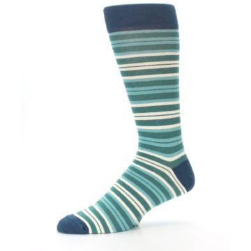 Image of Gem Green Stripe Men's Dress Socks (side-2-10)