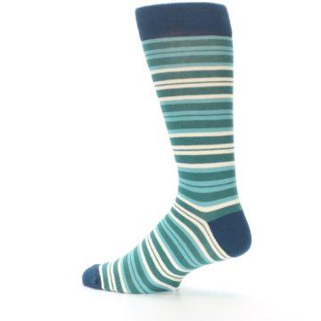Image of Gem Green Stripe Men's Dress Socks (side-2-13)